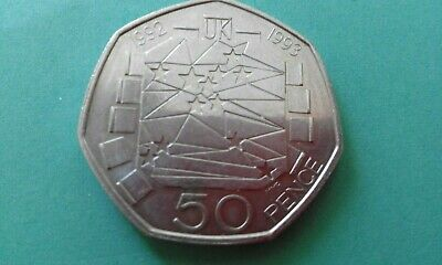 RARE Fifty Pence 50p Dual Date 1992/1993 EEC Presidency Coin GENUINE.