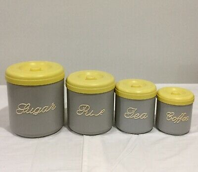 Vintage Nally Ware Kitchen Canisters x 4 Grey Yellow Sugar Rice Tea Coffee