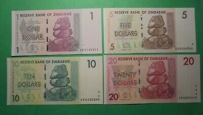 Unc Zimbabwe 1,5,10,20 Dollars All Ab Prefix.