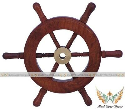 "6"" Wood & Brass Ship Wheel Nautical Maritime Marine Captain Pirate Decor Item"