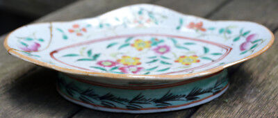 19th Century Antique Chinese Enameled Footed Oval Dish, Hand-Painted