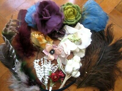 Vintage Millinery Flowers Roses Hat Decorations Feathers