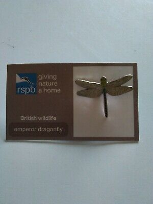 RSPB Emperor Dragonfly British Wildlife Pin Badge, Brand New