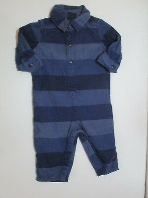 Infant Boys Baby Gap Blue Striped Button Down Longall Outfit Size 3-6 Months