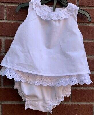 $54 JANIE & JACK Girl White EYELET Ruffle Cotton Set Top & Bloomers 12-18 Months