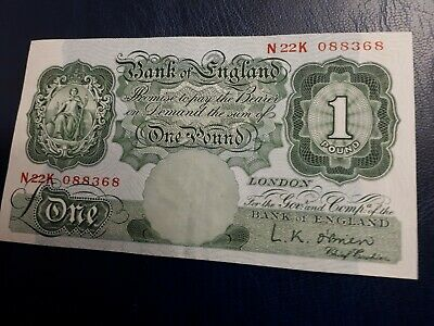 Bank Of England £1 Note Signed L.K. O'Brien  No  K22K 088368 from 1955_1962