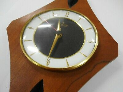 Retro Teak Junghans Electronic Diamond Wall Clock In Good Working Order