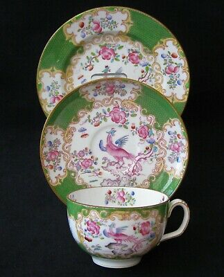 "Mintons Tea Trio Green ""COCKATRICE"" pattern No. 4863 c. 1891 V.G. Condition"