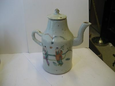 Fabulous Colorful Antique Stoneware Asian Soy Sauce Mini Pitcher W-Original Lid