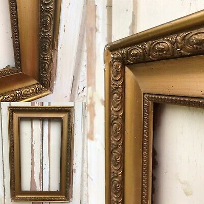 VERY OLD Picture Painting VINTAGE Frame Antique Gilt Gold Distressed Ornate