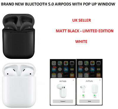 MATTE BLACK AirPods with Logo Siri Enabled Wireless Bluetooth + Charging Case