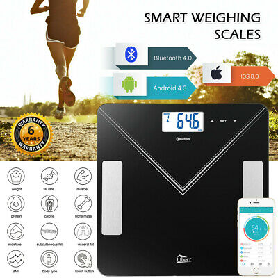 180KG BLUETOOTH DIGITAL BATHROOM SCALES BODY FAT MONITOR WEIGHING iOS, ANDROID