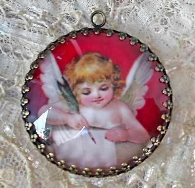 VINTAGE CUPID VALENTINE ~ XL ROUND 35mm GLASS  PENDANT Filigree LOVE LETTER