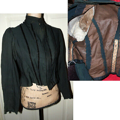 Antique Victorian Green Black Mourning Boned Corset Dress Blouse Jacket M as is