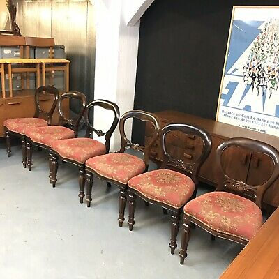 6 French Style Antique Mahogany Spoon Back Dining Chairs            M3303