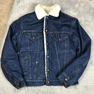 Vintage Levis Denim Jean Sherpa Lined Snap Up Youth Boys Jacket Sz 16 Made USA