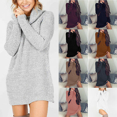 Women Warm Knitted Jumper Mini Dress Ladies High Neck Chunky Winter Sweater Top