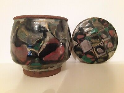 Modernist Studio Pottery Lidded Pot with Hand Painted Detail