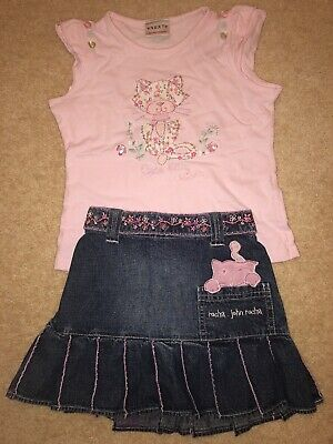Girls Designer Denim Skirt And Matching Top Age 5