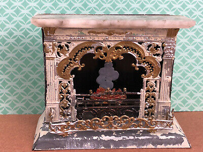 Antique German Miniature Fireplace Dollhouse Metal Marble Mantle w/Tongs c.1880