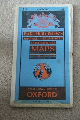 "Bartholomew's Paper ""Half-Inch"" Contoured Map. Sheet Number 14 OXFORD"
