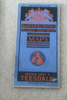 "Bartholomew's Paper ""Half-Inch"" Contoured Map. Sheet Number 4 TEESIDE CLOTH"