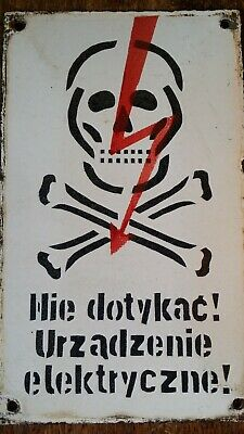 Vintage Enamel Metal Sign - Skull & Crossbones Warning Electricity - Poland