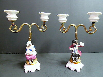 Pair of Candlesticks Bronze Porcelain Man Woman XIX ° 19th Signed Candle Holders