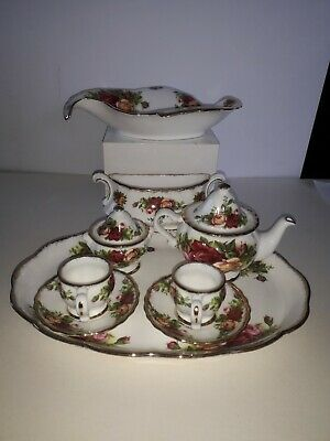 Royal Albert Old Country Roses Tray 2 Miniature Cups/Saucers/Sugar/.Tea Pot.