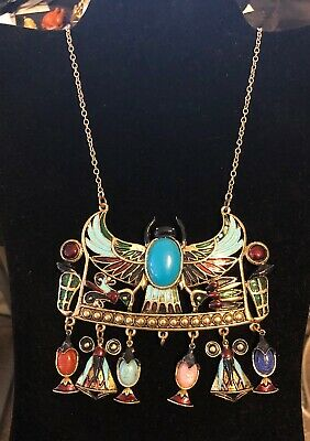 Vintage Diorios Egyptian Revival Scarab Enamel Bib Necklace Signed60s 70s AS IS