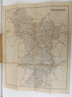 c1885 PHILIPS Cyclist Map of the County of DERBY Folded Linen-Backed Map CYCLING