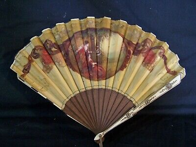 Antique Hand Painted Victorian Folding Fan Inlaid Bone PASTORAL SCENE & Gold Box