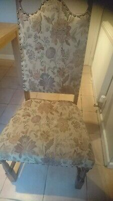 4 x Antique vintage style solid oak dining chairs with floral tapestry design