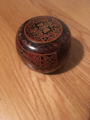 Charming Carved Round Wooden Box Hand Painted, Trinket Box, Vintage, Storage Box