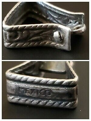 Vintage Antique Sterling 925 MEXICO Western Boot Holder Stirrup REPOUSSE Charm