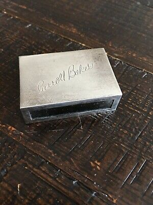 Vintage Tiffany & Co Makers Sterling 22300 Matchbox Cover Engraved Carroll Baker