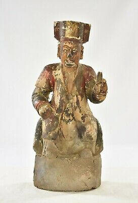 Antique Chinese Wood Carved Statue / Figure of 1698, Qing Dynasty