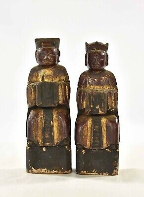 Pair Antique Chinese Red & Gilt Wooden Carved Statue / Figure of 1917