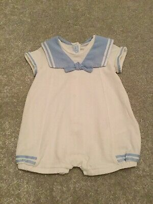 Mayoral spanish nautical blue & white romper outfit 2-4 months traditional roman