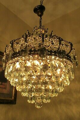 Antique Vintage French CAGE Style Crystal Chandelier Light 1940's 18 in.