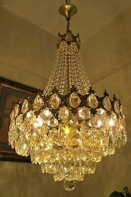 Antique Vintage.French Basket Style Crystal Chandelier Lamp Light 1940's.15 in..