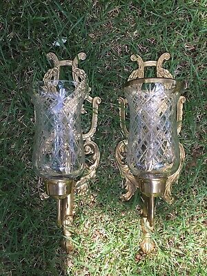 Pair Ornate Brass Candle Holder Wall Sconces & Glass Globes As Is