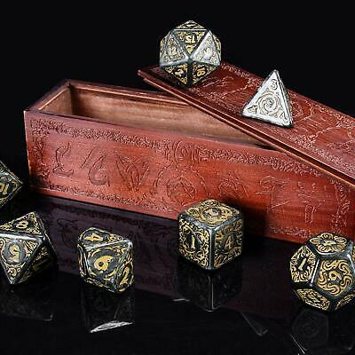 Titan Dice 25mm Giant Polyhedral Dice 7-Piece Set Engraved Wooden Display Box