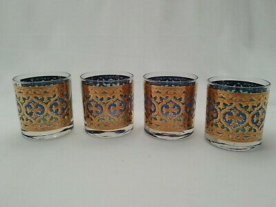 4 Georges Briard Green Blue Gold Old Fashioned Whiskey Glasses Vtg Mid Century
