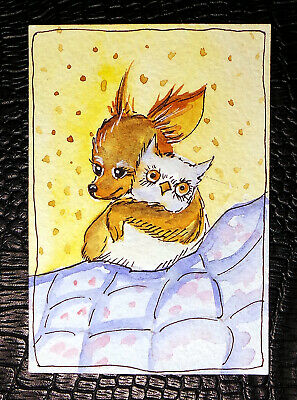 """Original art by Bastet """"Dog"""" OOAK hand painted ACEO"""