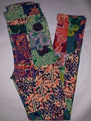 (BoxP) LuLaRoe Kids Leggings L/XL New Multicolor Aztec Mixed Pattern Fits 8-12