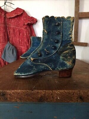 Rare Antique 19th Century Blue Leather Button Up Childs Baby Shoes