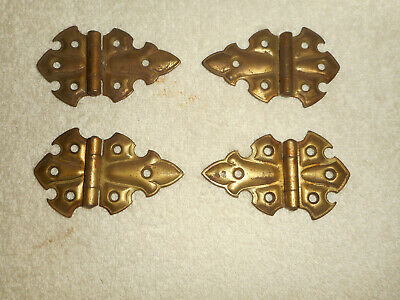 4 Vintage Stanley Sweetheart Brass Cabinet Door Hinges Fleur De Lis Made in USA