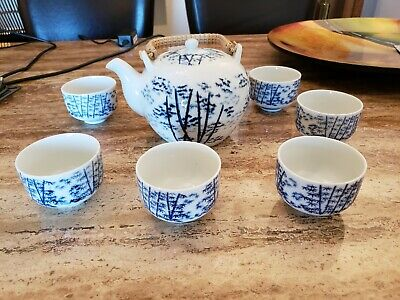 Vintage OMC Japan Tea Set - Blue and White - Tea Pot and 6 Cups