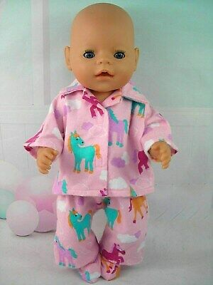"""Dolls clothes for 17"""" Baby Born doll~PONY~HORSE PINK WINTER PYJAMAS~BED SOCKS"""